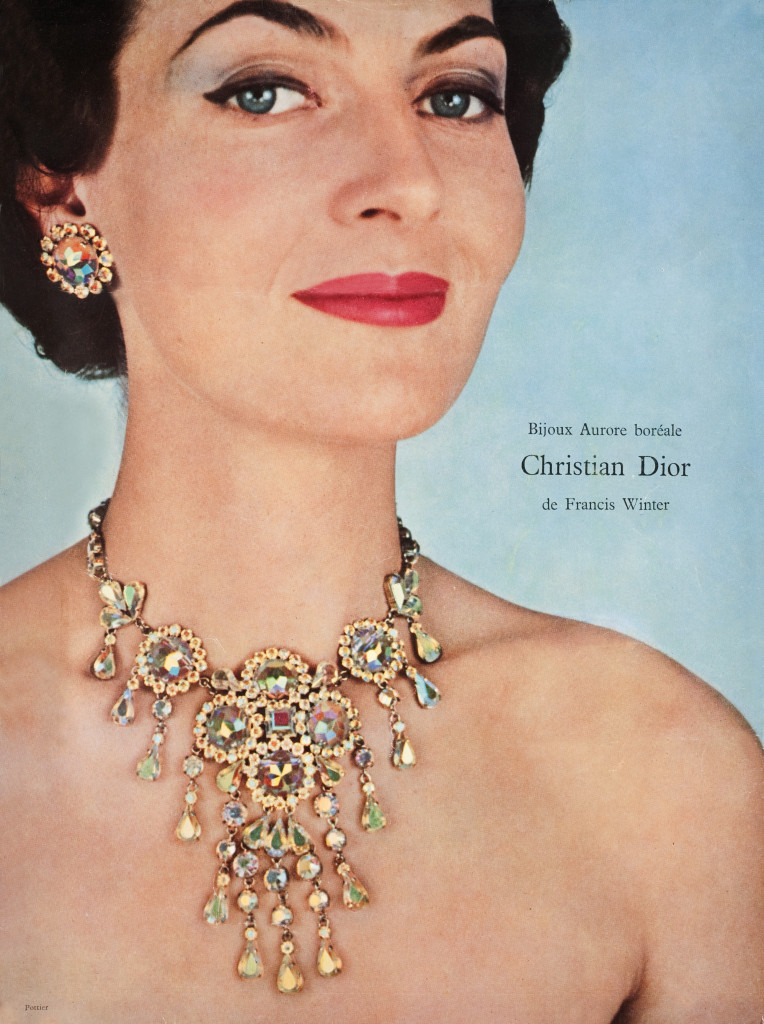 Christian Dior jewelry made with Aurora Borealis crystal, 1960