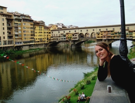 Florence me in front of Ponte Vecchio