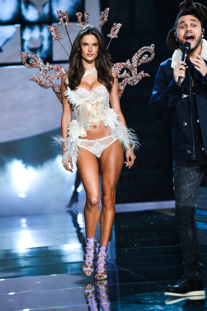 Alessandra Ambrosio, Victoria's Secret Designer Collection Bra and Matching Panty Lace and Feather Bodice and Rose Gold Plated Wing with Swarovski Crystals