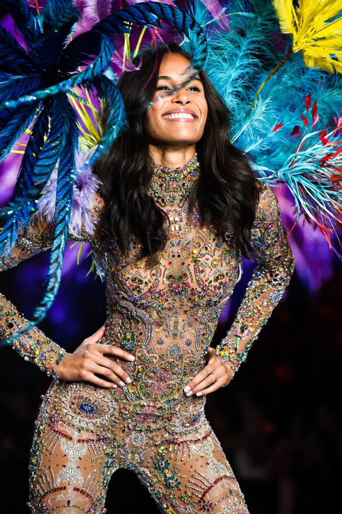 Cindy Bruna, Custom embroidered body suit with feather wing made with Swarovski crystals