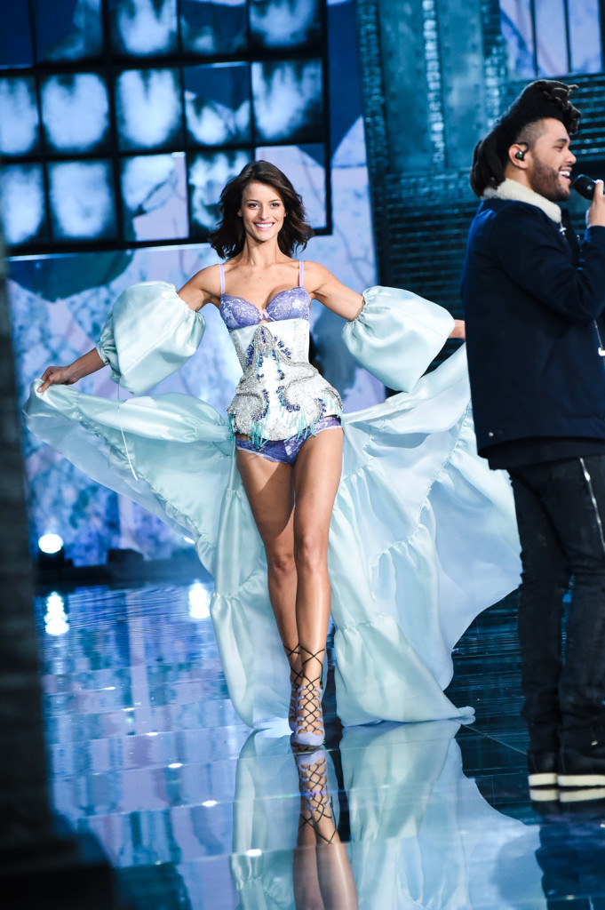 Flavia Lucini, Victoria's Secret Dream Angels Demi Bra and Matching Panty Silk Organza Corset and Train with Swarovski Crystals